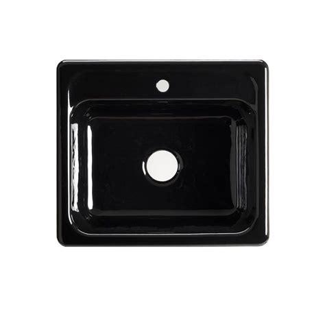 Black Single Basin Kitchen Sink Kohler Mayfield Drop In Cast Iron 25 In 1 Single