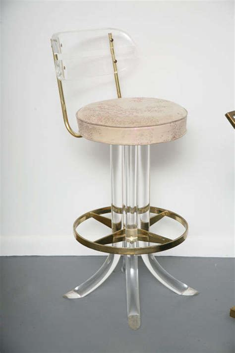 Acrylic Swivel Bar Stools by Four Lucite And Brass Swivel Bar Stools At 1stdibs