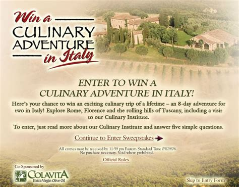 Olive Garden Sweepstakes - experience italy on olive garden s new web site
