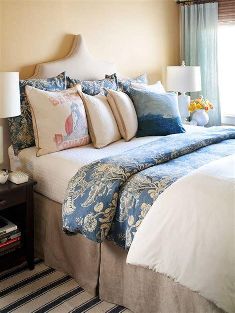 blue  beige bedding transitional bedroom bhg