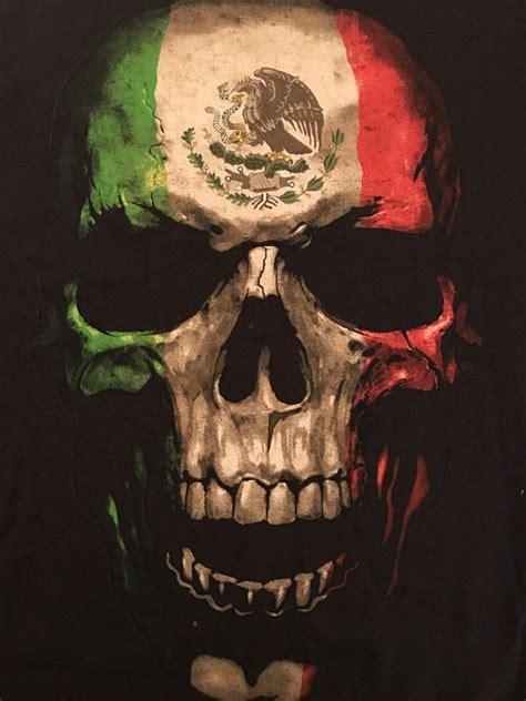 mens mexican flag skull  sun tshirt medium chicano