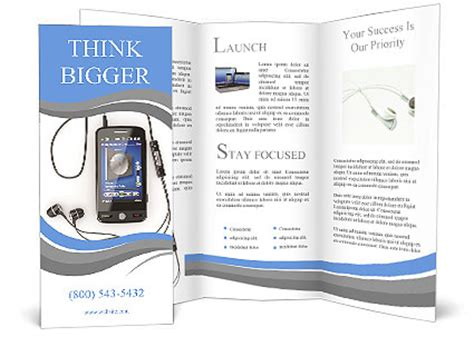 3d brochure template mobile phone with headphones on white background 3d