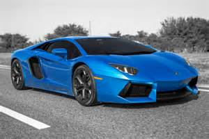 azure blue lamborghini aventador photo shoot picture