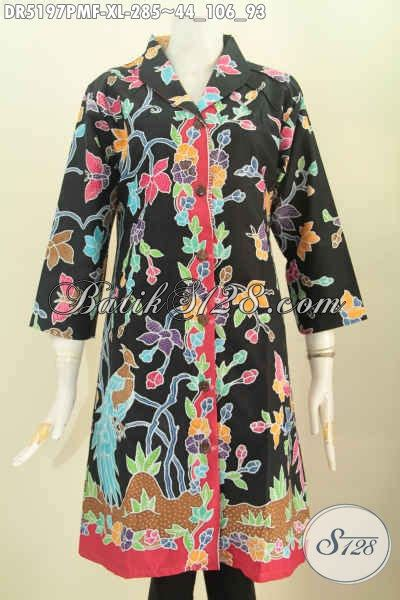 Dress Charlote Hitam Bahan Twistcone Kombi Katun Batik Asli Sleti baju batik motif bunga dasar hitam busana batik halus kombinasi tulis kerah langsung bahan adem