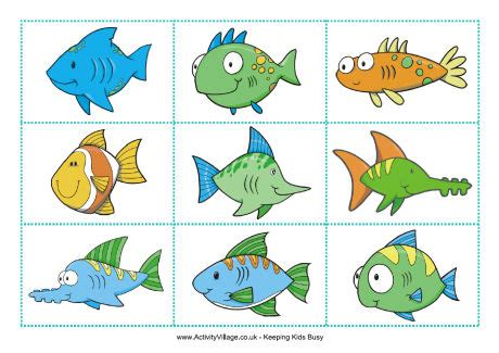 go fish template cards fish matching