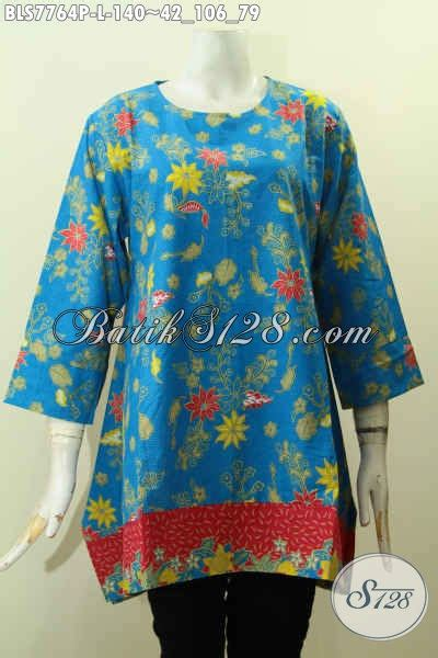 Batik Dress Bunga Biru batik blus biru motif bunga pakaian batik keren terkini