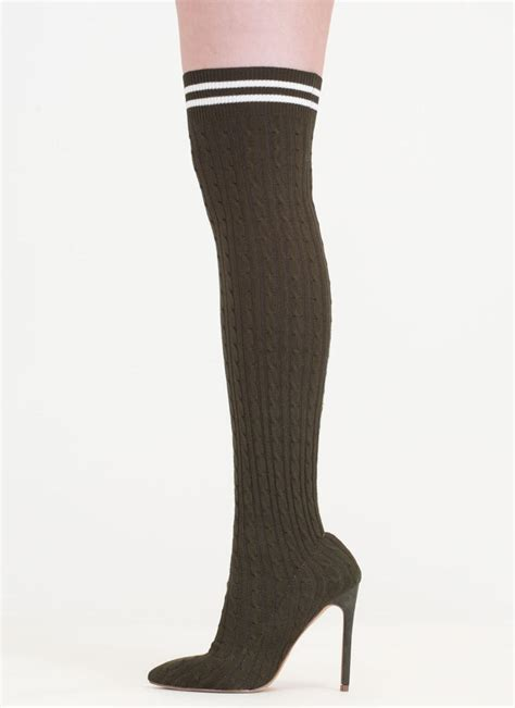 knitted boot socks knit s a hit thigh high sock boots pink olive grey black