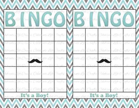 baby shower bingo cards blank blank baby shower bingo cards mustache theme printable
