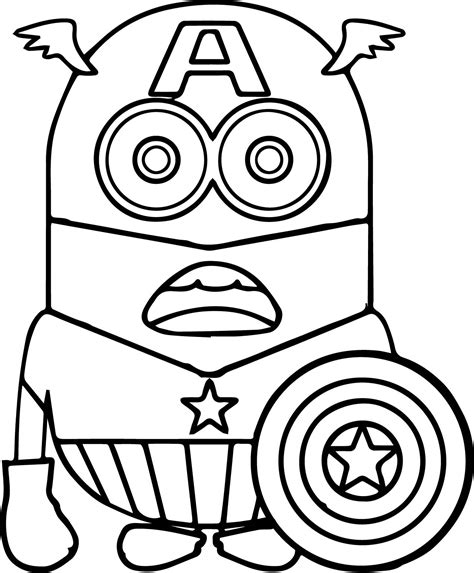 coloring pages for captain america minion captain america coloring page wecoloringpage