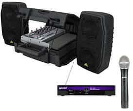 behringer epa150 pro audio dj compact 150 watt pa speaker mixer combo with 50 wireless mic
