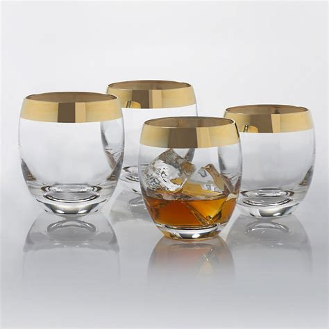 Madison avenue gold band whiskey glasses so that s cool