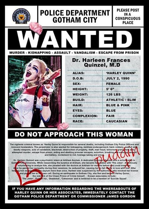 Biography Of Film Wanted | harley quinn wanted poster by thezeroroom on etsy harley