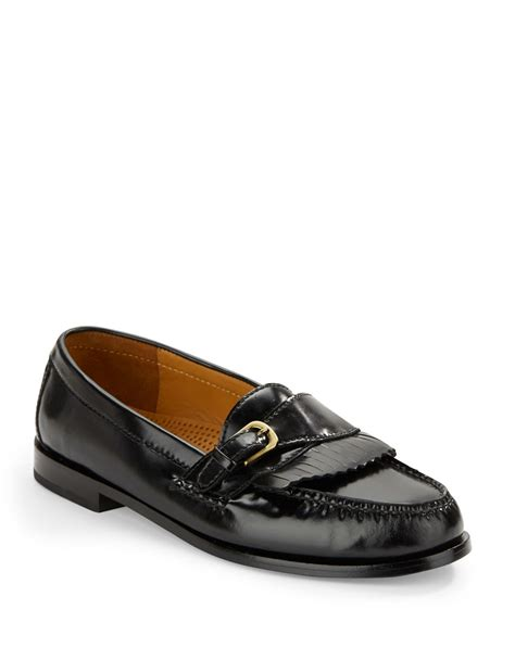 cole haan black loafers cole haan pinch buckle loafers in black for lyst