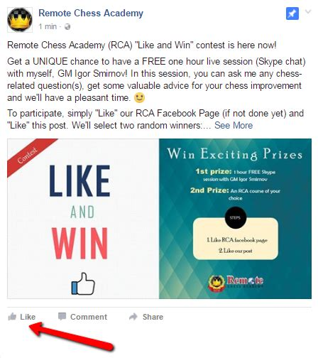 rca facebook contest remote chess academy - How To Have A Giveaway On Facebook