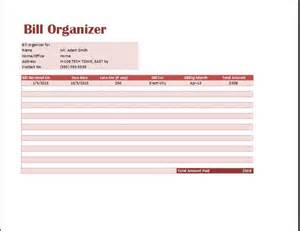 bill organizer template ms excel comprehensive bill organizer template word