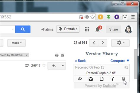 chrome version history view compare attachment versions in gmail threads chrome