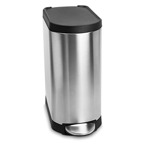 Slim Kitchen Trash Can by Simplehuman 174 Slim Plastic Lid Step Trash Can Brushed