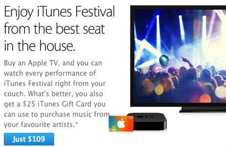 Apple Tv 25 Gift Card - apple promo offering 25 itunes card with apple tv purchases expands to canada