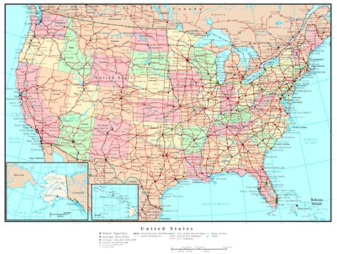 united states map with cities and roads united states political map