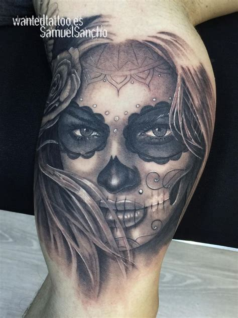 woman face tattoo designs catrina biceps possibilities biceps
