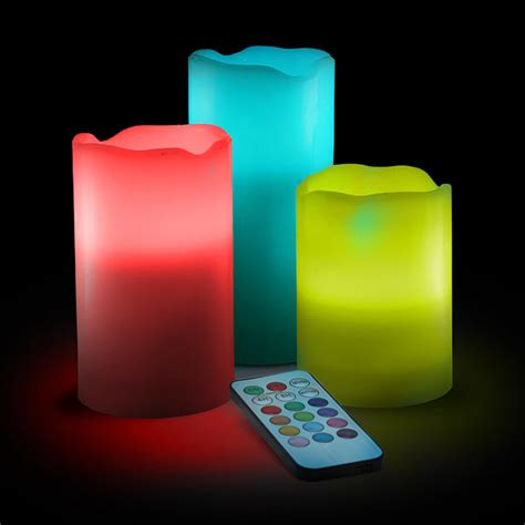 color changing candles color change led candle set with remote thinkgeek