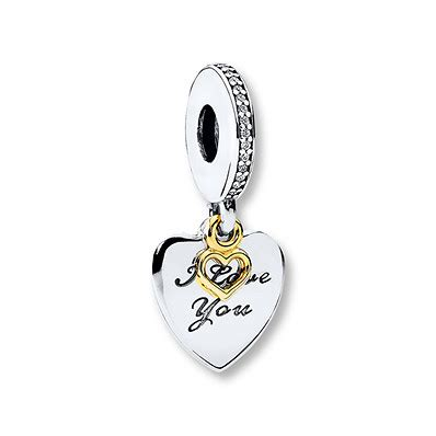 Pandora 14k Gold And Silver Family Dangle Charm P 390 jared pandora dangle charm you forever sterling silver 14k gold