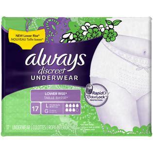 always discreet underwear always discreet incontinence underwear low rise large