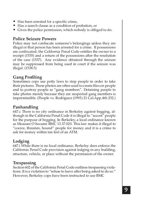 california penal code section 602 copwatch handbook