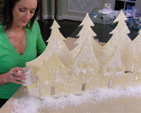 Decorating For Winter - snow village mantel display hgtv