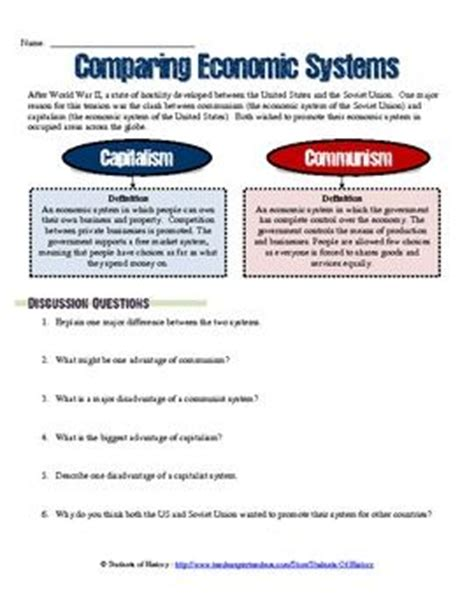 Cold War Worksheets by Comparing Economic Systems Worksheet Capitalism Vs