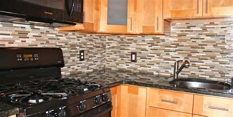 Mosaic Glass Backsplash Kitchen Kitchen Backsplash New Jersey Custom Tile