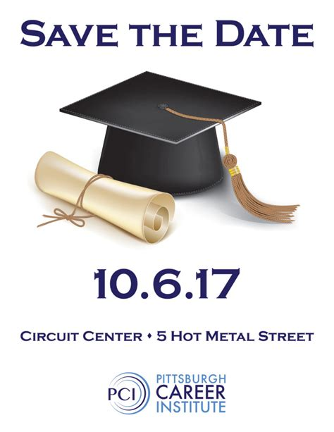 Save the date graduation at pci pittsburgh career institute