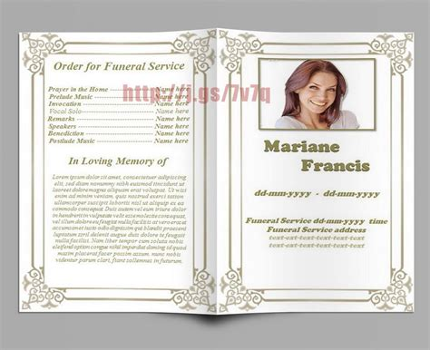 Obituary Memorial And Funeral Program Template Funeral Program Templates For Ms Word To Memorial Template Microsoft Word