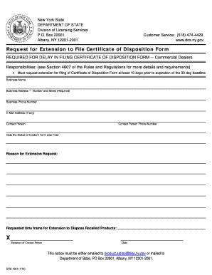 Certificate Of Disposition Letter Fillable Dos Ny Request For Extension To File Certificate Of Disposition Form Dos Ny