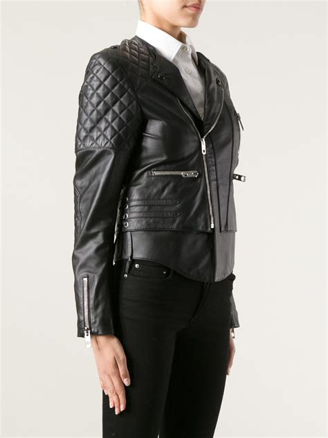balenciaga quilted leather biker jacket in black lyst