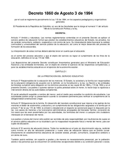 Ley 14 Ministerio De Gobierno | decreto 1860 reglamentacion articulos ley 115