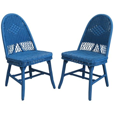 set of four cobalt blue wicker dining chairs at 1stdibs