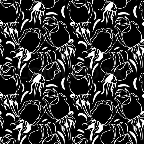 pattern floral black and white floral seamless pattern black and white illustration