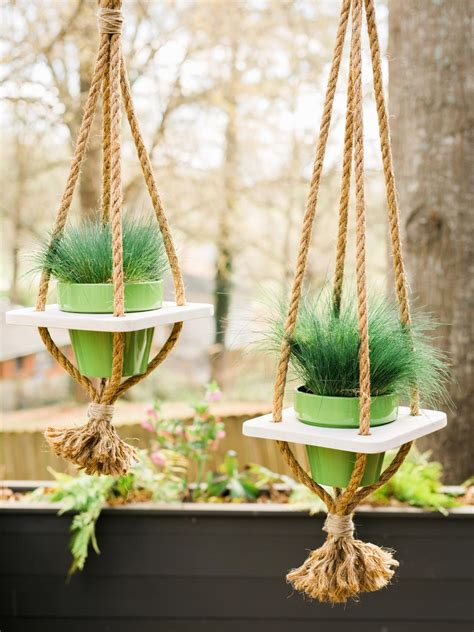 hanging planters diy hanging planter with rope hgtv