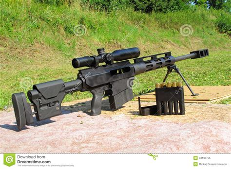 50 Bmg Sniper by Sniper Rifle Caliber 50 Bmg With Ammo Stock Photo Image