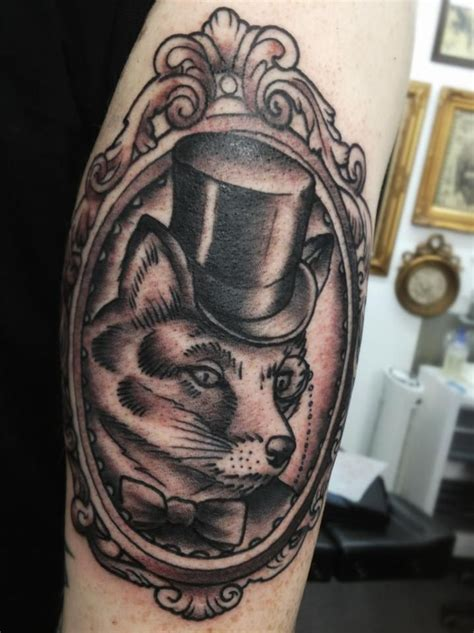 top hat tattoo mr fox in a top hat by mr curtis at tribalbodyart