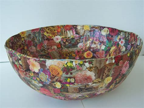 Paper Mache Bowls - large paper mache decoupage bowl roses images original design