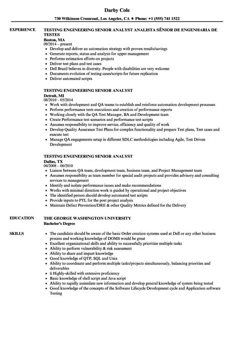 test analyst resume sles velvet performance test engineer sle resume graduate teaching