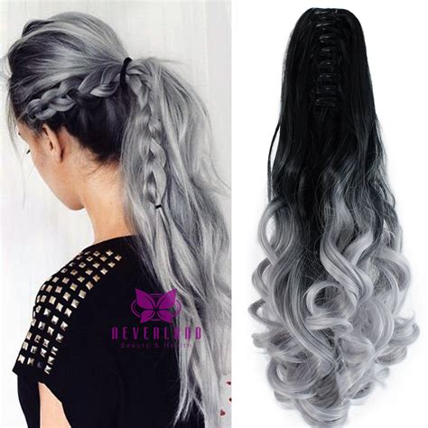 black to grey colored clip synthetic claw ponytail clip in on hair extensions wavy