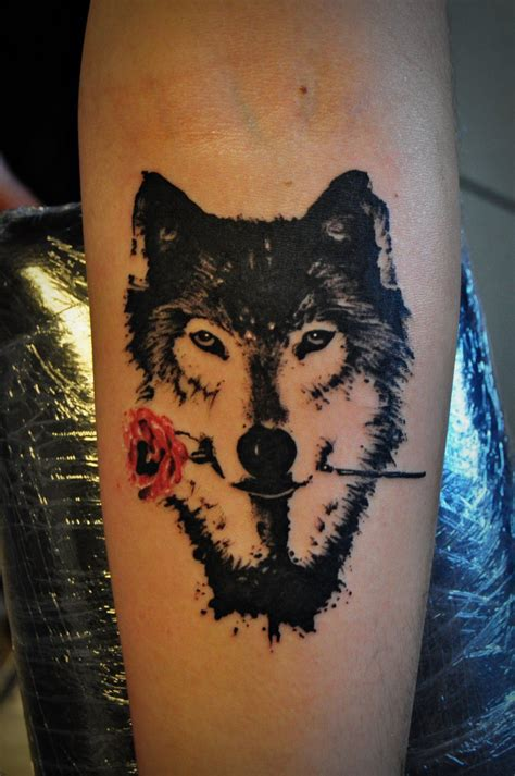 wolf and rose tattoo wolf with by kubach deviantart on
