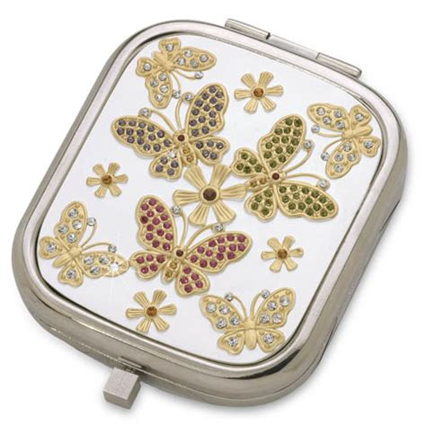 butterfly meadow silver luxury compact mirror with