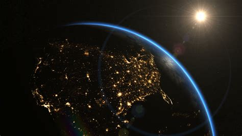 us map at with lights usa the united states from space clip