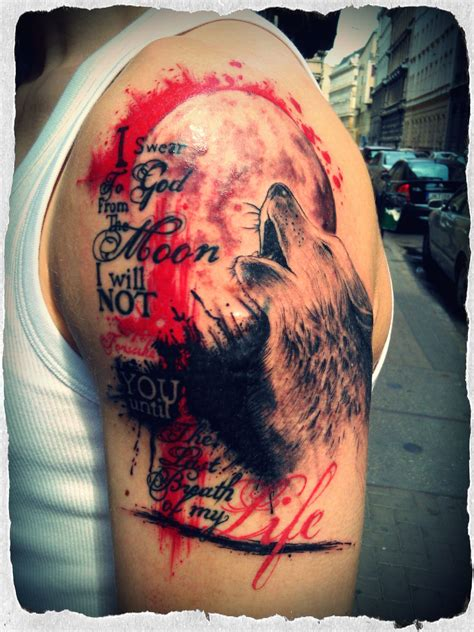 bloody wolf tattoo trash design with typography and a wolf howling to