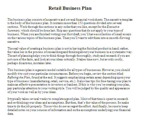 Retail Business Planning Template Business Small Retail Business Plan Template