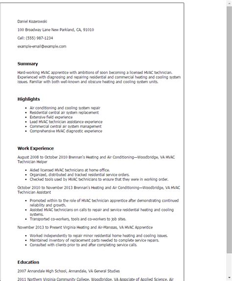 resume format for ac mechanic professional hvac apprentice templates to showcase your